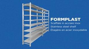 FORMPLAST model stainless steel shelves with square section uprights. Excellent for cheeses. Equipped with micro-perforated shelves that prevent condensation