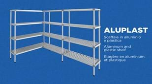 The ALUPLAST modular shelves in aluminum and plastic by Brescancin are perfect for cold rooms and withstand temperatures of -40 degrees Celsius