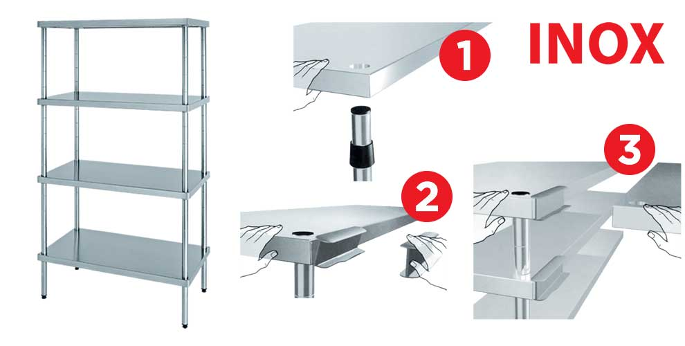 Shelving in stainless steel (stainless steel) in AISI 304