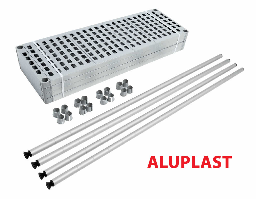 The ALUPLAST modular shelf (made of aluminum and plastic) by Brescancin is delivered completely disassembled given the ease with which it can be assembled (without screws)