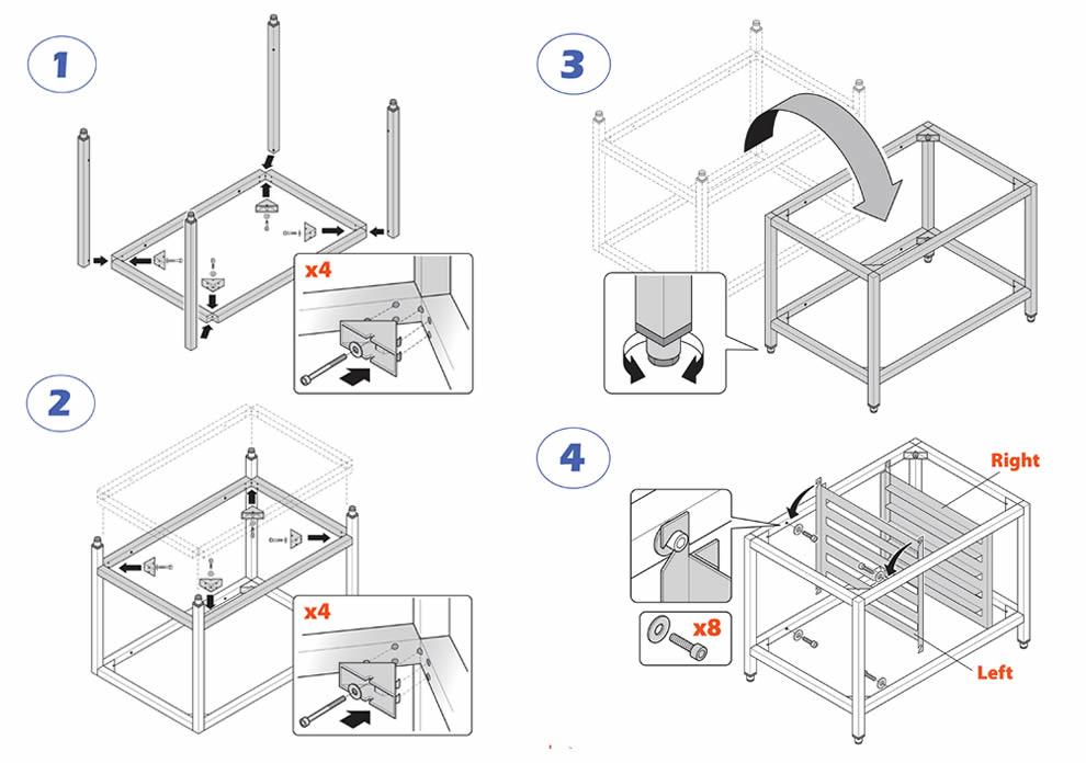 Instructions de montage du support de four pour cuisines professionnelles de la série ESTRO de Brescancin