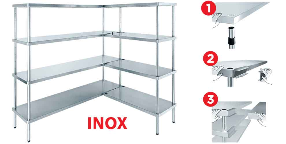 INOX Series - Modular stainless steel shelf for food