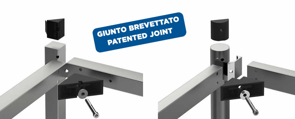 The joint patented by the Brescancin company of frames for tables, sinks and logs for large kitchens