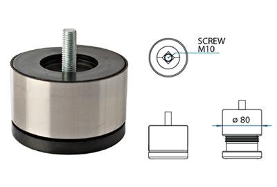 Piede regolabile diametro 80 mm con vite fissa e base nylon - Brescancin